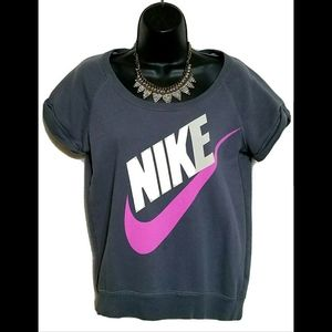 VTG 1980s Nike Spell Out Neon Retro Crop Shirt S